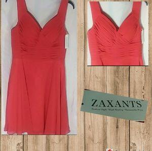 🍰Zaxants NWT Red  Sheer Sleeveless Formal Dress